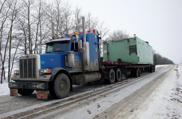 hauling green container